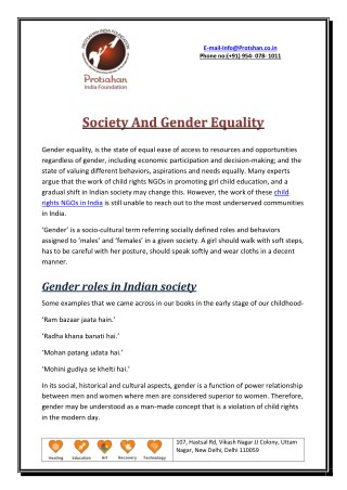 Society And Gender Equality