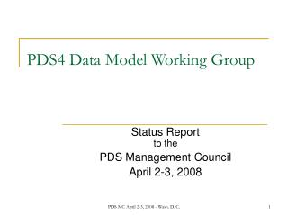 PDS4 Data Model Working Group