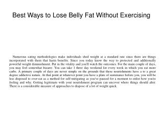 Best Ways to Lose Belly Fat Without Exercising