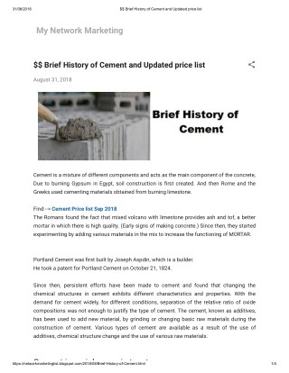 $$ Brief History of Cement and Updated price list August 31, 2018