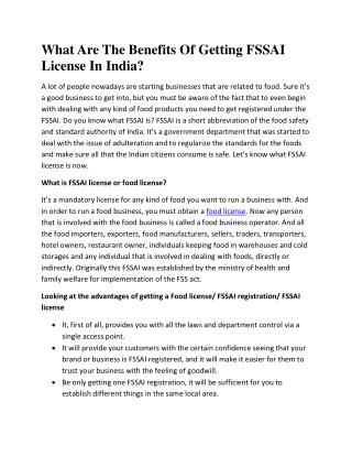 What Are The Benefits Of Getting FSSAI License In India?