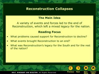 Reconstruction Collapses