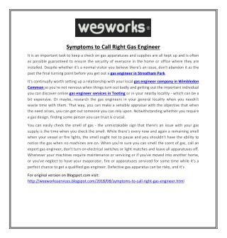Symptoms to Call Right Gas Engineer