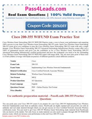 Cisco 200-355 WIFUND Exam Questions