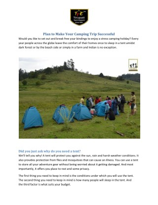 Plan to Make Your Camping Trip Successful