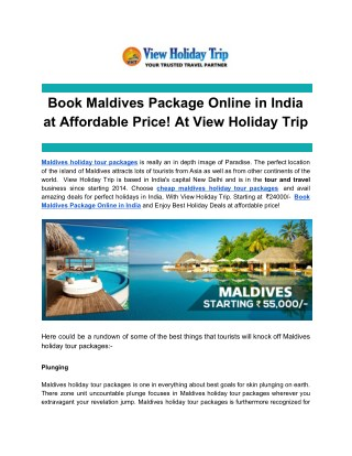 Ppt Book Maldives Package Online In India At Affordable