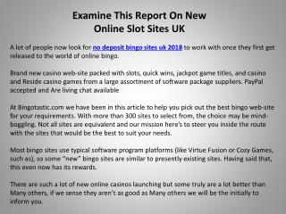 Examine This Report On New Online Slot Sites UK