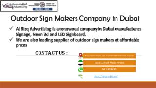 Outdoor Sign Makers Company in Dubai