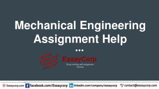 Mechanical Engineering Assignment Help by Essaycorp