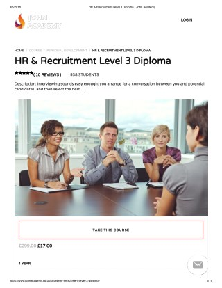 HR & Recruitment Level 3 Diploma - john Academy