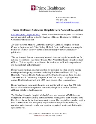 Ppt Prime Healthcare California Hospitals Earn National