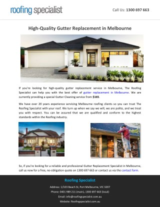 High-Quality Gutter Replacement in Melbourne