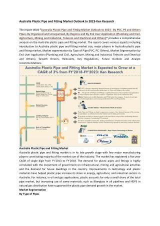 PVC Pipes Market Australia, Revenue PE Pipes Fitting Australia-Ken Research