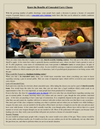 Know the Benefits of Concealed Carry Classes
