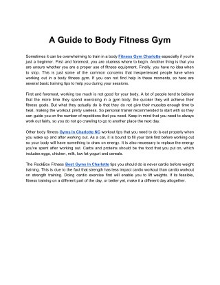 A Guide to Body Fitness Gym