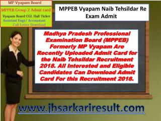 2018 MPPEB Nayab Tehsildar Re Exam Admit Card