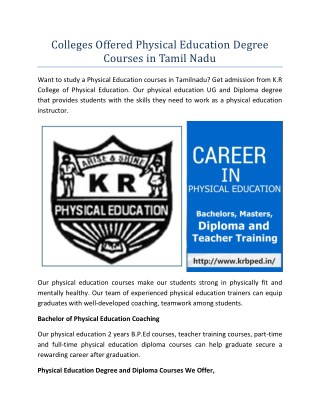Colleges Offered Physical Education Degree Courses in Tamil Nadu