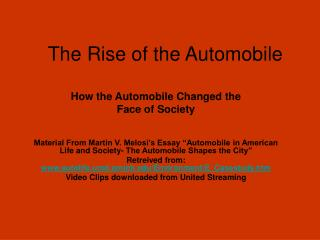 The Rise of the Automobile