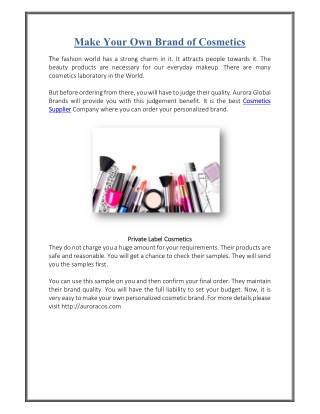 Aurora Cosmetics- Best Private Label Cosmetics Supplier