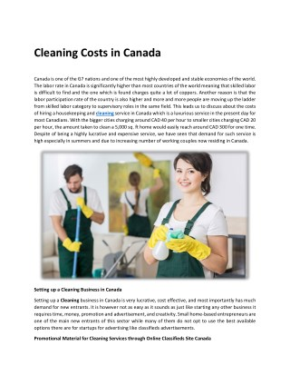 Cleaning Costs in Canada