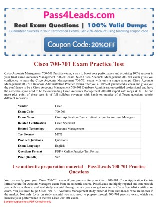 Cisco 700-701 Test Practice Exam Dumps 2018