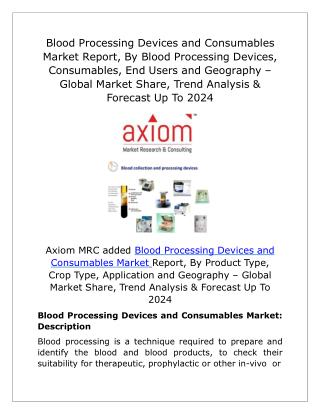 Blood Processing Devices and Consumables Market Future Demand & Growth Analysis with Forecast up to 2024