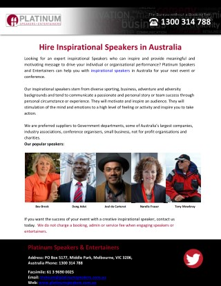 Hire Inspirational Speakers in Australia