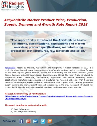 Acrylonitrile Market Product Price, Production, Supply, Demand and Growth Rate Report 2018