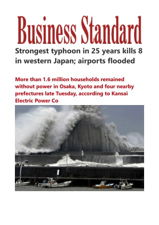 Strongest typhoon in 25 years kills 8 in western Japan; airports flooded
