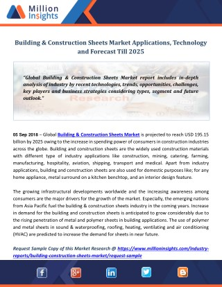 Building & Construction Sheets Market Applications, Technology and Forecast Till 2025
