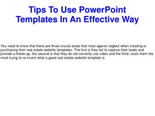 Tips To Use PowerPoint Templates In An Effective Way