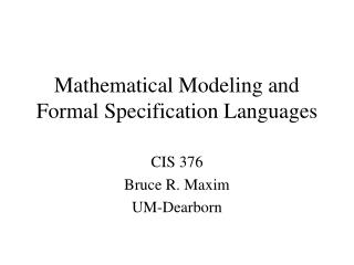 Mathematical Modeling and Formal Specification Languages