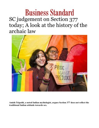 SC judgement on Section 377 today; A look at the history of the archaic law