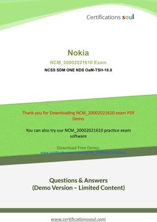 Nokia Networks NCM_20002021610 Nokia Practice Exam