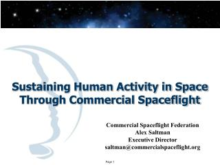 Sustaining Human Activity in Space Through Commercial Spaceflight
