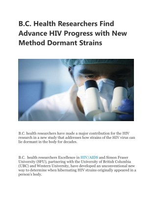 B.C. Health Researchers Find Advance HIV Progress with New Method Dormant Strains