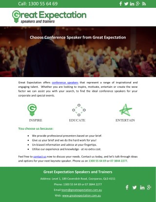 Choose Conference Speaker from Great Expectation