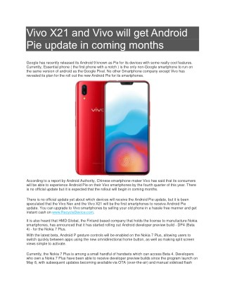 PPT - Vivo X21 and Vivo will get Android Pie update in coming months