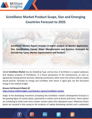 Scintillator Market Product Scope, Size and Emerging Countries Forecast to 2025