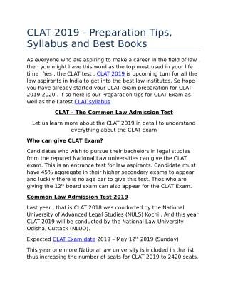 CLAT 2018 details