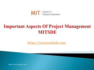 Important aspects of Project Management MITSDE