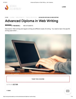 Advanced Diploma in Web Writing - john Academy