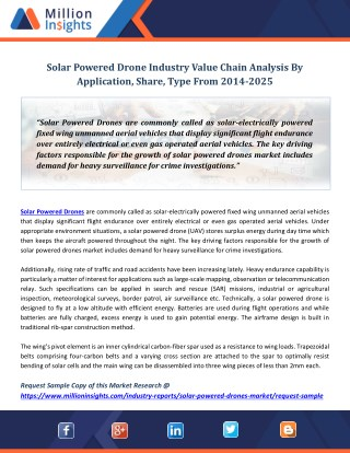 Solar Powered Drone Industry Value Chain Analysis By Application, Share, Type From 2014-2025