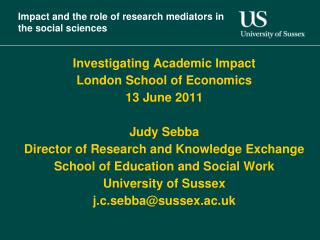Impact and the role of research mediators in the social sciences