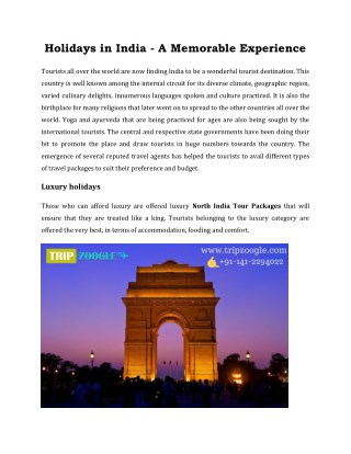 Holidays in India - A Memorable Experience