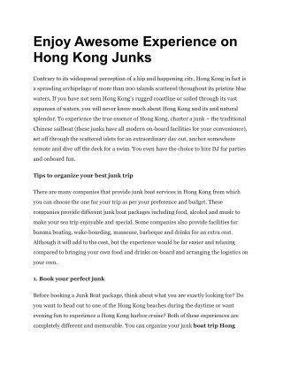 Enjoy Awesome Experience on Hong Kong Junks