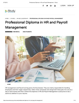 Professional Diploma in HR and Payroll Management - istudy