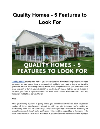 QUALITY HOMES - 5 FEATURES TO LOOK FOR