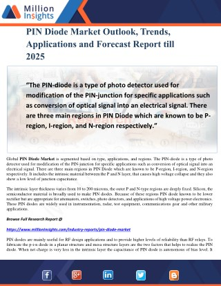 PIN Diode Market Outlook, Trends, Applications and Forecast Report till 2025