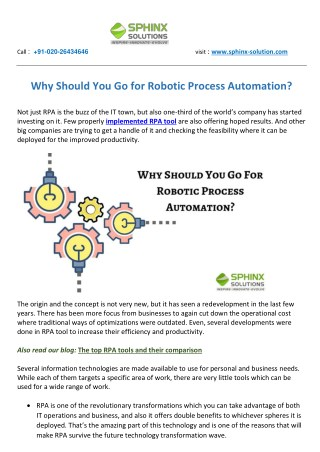 Why Should You Go for Robotic Process Automation